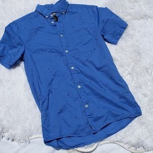 H&M Short Sleeve Button Down XS Blue Flamingos